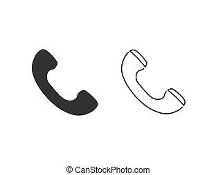 Phone line icon set flat style. vector