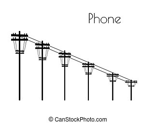 Phone line silhouette on white background
