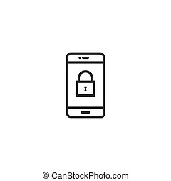 phone lock Icon. line style vector illustration