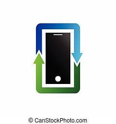 phone logo design, recycle vector logo