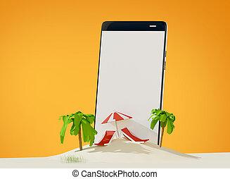 phone lounge and umbrella on sand beach island 3d-illustration