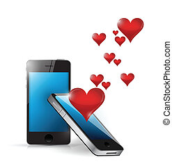 phone love connection. internet communication