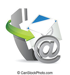 phone mail at, contact us illustration design over a white...