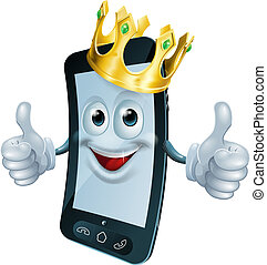 Phone man with crown - Illustration of a phone mascot man...
