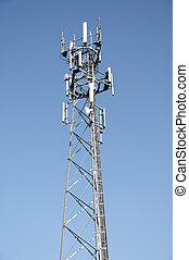 Phone mast - A phone mast against a clear blue sky