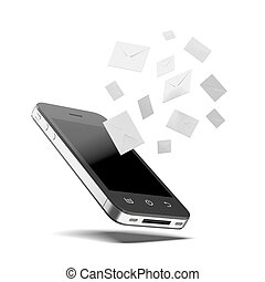 Phone messages  isolated on a white background