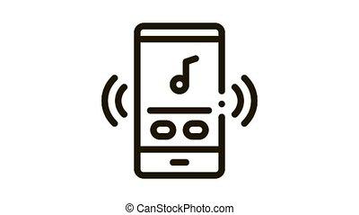 Phone Music Audio Player Icon Animation. black Phone Music Audio Player animated icon on white background