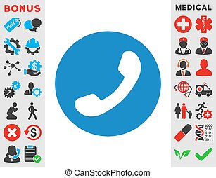 Phone Number vector icon. Style is flat symbol, smooth blue color, rounded angles, white background.