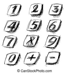 Phone numbers from fountain pen. Illustration on white