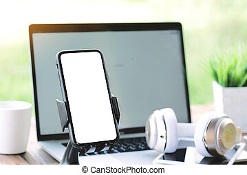 phone on holder showing blank screen