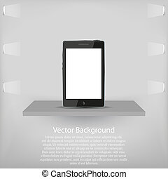 phone on shelf. Vector background
