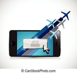 phone online booking concept illustration design over a ...