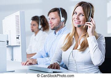 Phone operator during work