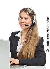 Phone operator with laptop