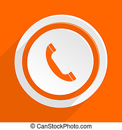 phone orange flat design modern icon for web and mobile app