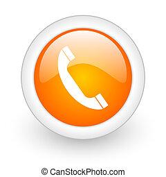 phone orange glossy web icon on white background