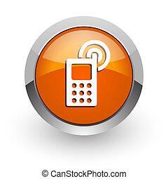 phone orange glossy web icon