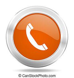 phone orange icon, metallic design internet button, web and mobile app illustration