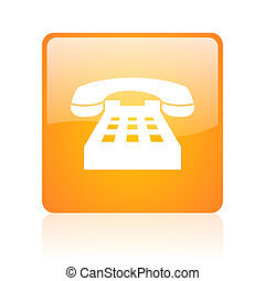 phone orange square glossy web icon