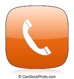 phone orange square web design glossy icon