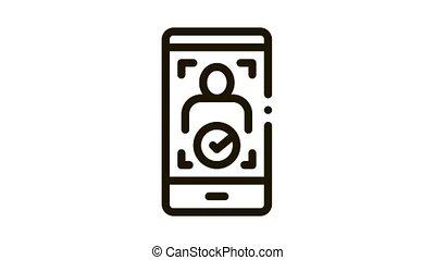 Phone Person Verification Icon Animation. black Phone Person Verification animated icon on white background