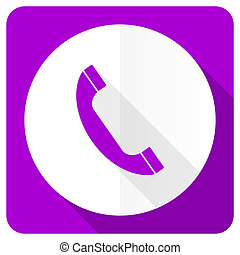 phone pink flat icon telephone sign