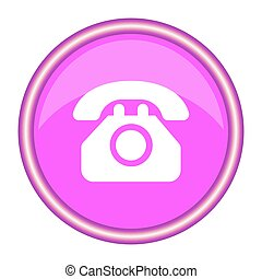 Phone pink glossy icon on white background. Vector illustration.
