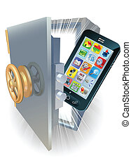 Phone protection concept - Illustration of a new mobile ...