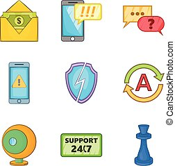 Phone protection icons set, cartoon style