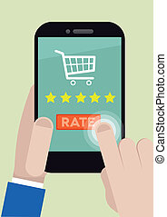 phone rating five stars - minimalistic illustration of a ...