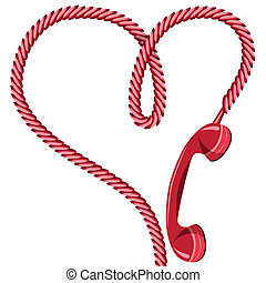 Phone reciever and cord as heart. Love hotline concept vector for valentine's day