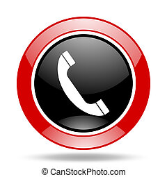 phone red and black web glossy round icon