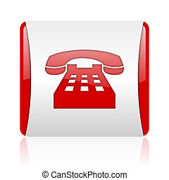 phone red and white square web glossy icon