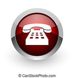 phone red circle web glossy icon