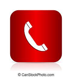 phone red square modern design icon