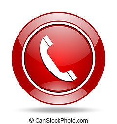phone red web glossy round icon