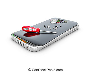 Phone repair and service concept. 3d Illustartion isolated...