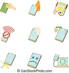 Phone repair icons set, cartoon style