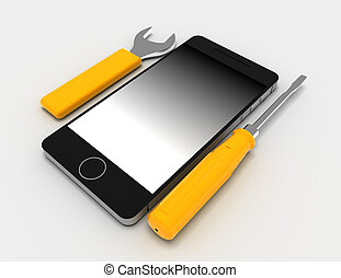 Phone repair on white background . 3D rendered illustration
