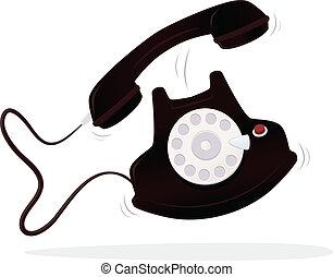 Phone - Retro dial phone ringing vector cartoon illustration