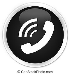 Phone ringing icon black glossy round button