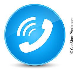 Phone ringing icon elegant cyan blue round button