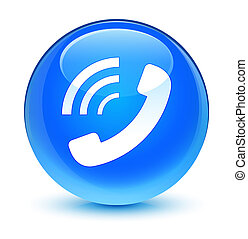 Phone ringing icon glassy cyan blue round button