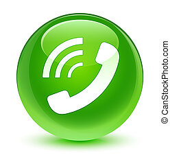 Phone ringing icon glassy green round button