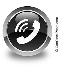 Phone ringing icon glossy black round button