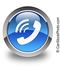 Phone ringing icon glossy blue round button
