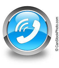 Phone ringing icon glossy cyan blue round button