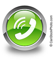 Phone ringing icon glossy green round button