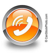 Phone ringing icon glossy orange round button