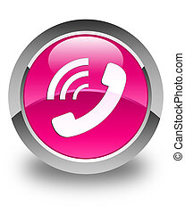 Phone ringing icon glossy pink round button